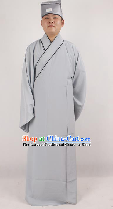 Professional Chinese Peking Opera Niche Costume Beijing Opera Scholar Grey Robe and Hat for Adults
