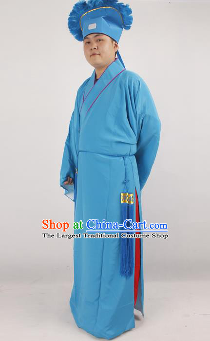 Professional Chinese Peking Opera Niche Costume Beijing Opera Scholar Blue Robe and Hat for Adults