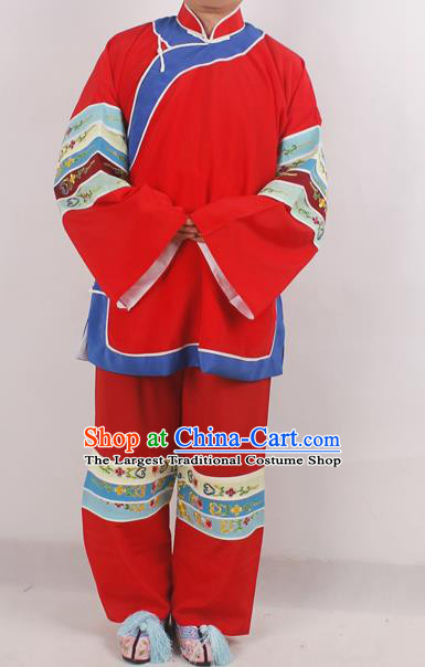 Chinese Peking Opera Pantaloon Red Costume Ancient Matchmaker Embroidered Clothing for Adults