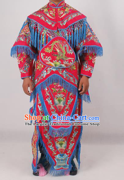 Chinese Peking Opera Blues Red Costume Ancient Female Warriors Embroidered Clothing for Adults