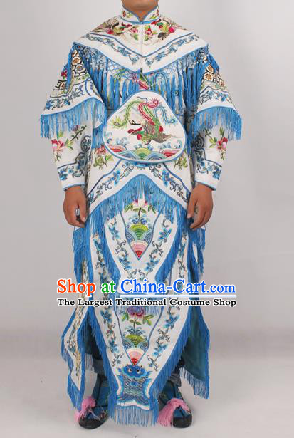 Chinese Peking Opera Blues White Costume Ancient Female Warriors Embroidered Clothing for Adults