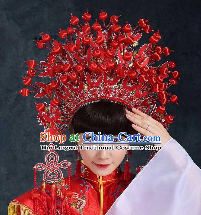 Top Grade Chinese Beijing Opera Diva Headwear Peking Opera Bride Phoenix Coronet Hat for Women