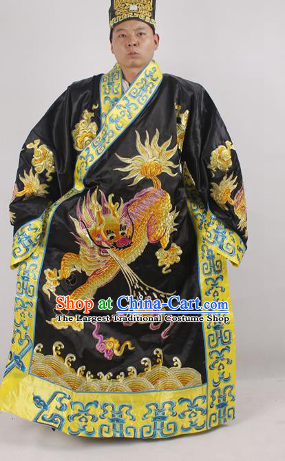 Professional Chinese Peking Opera Minister Costume Beijing Opera Embroidered Kylin Black Robe for Adults