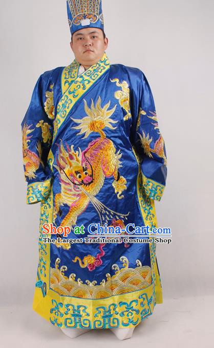 Professional Chinese Peking Opera Minister Costume Beijing Opera Embroidered Kylin Blue Robe for Adults