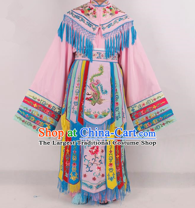 Chinese Peking Opera Diva Pink Costume Ancient Imperial Consort Embroidered Clothing for Adults
