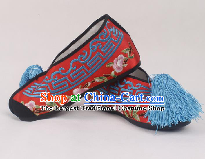 Chinese Traditional Beijing Opera Red Embroidered Shoes Peking Opera Diva Blood Stained Shoes for Women