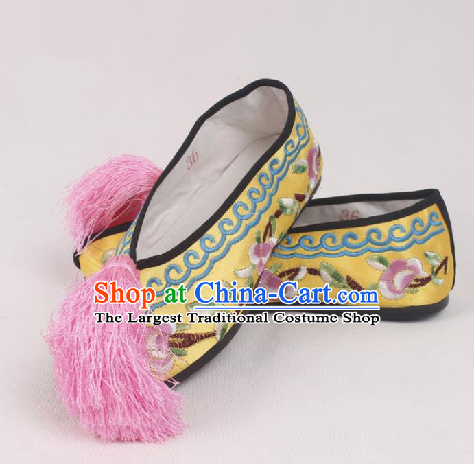 Chinese Traditional Beijing Opera Yellow Embroidered Shoes Peking Opera Diva Blood Stained Shoes for Women