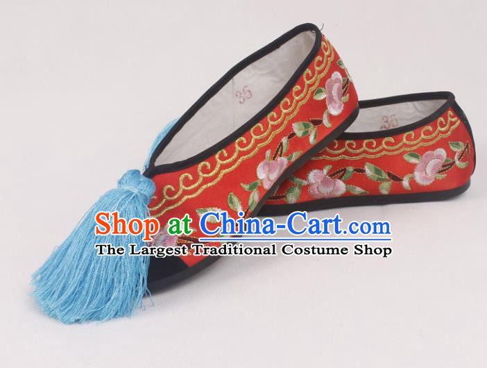 Chinese Traditional Beijing Opera Hanfu Red Embroidered Shoes Peking Opera Diva Blood Stained Shoes for Women