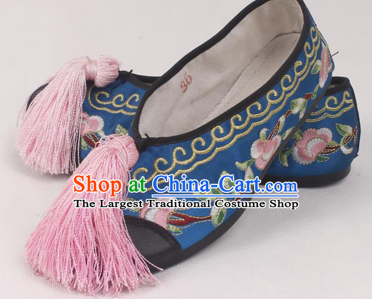 Chinese Traditional Beijing Opera Hanfu Blue Embroidered Shoes Peking Opera Diva Blood Stained Shoes for Women