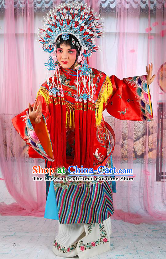 Professional Chinese Beijing Opera Diva Imperial Consort Embroidered Red Costumes and Phoenix Coronet for Adults