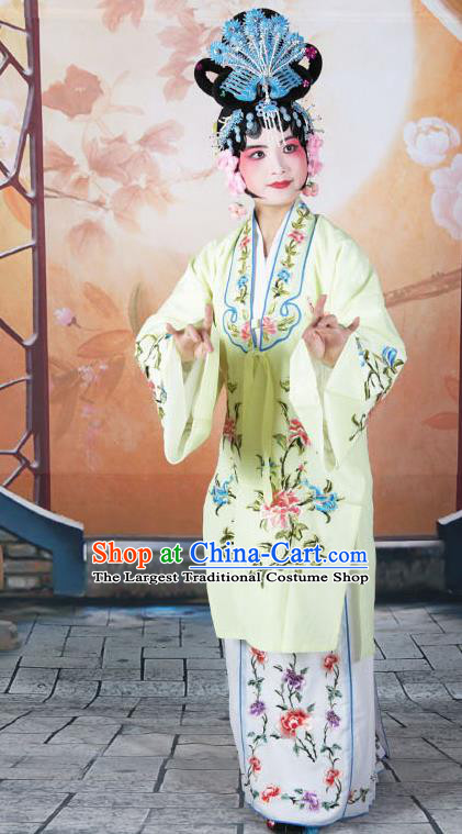 Professional Chinese Beijing Opera Actress Embroidered Peony Yellow Costumes for Adults