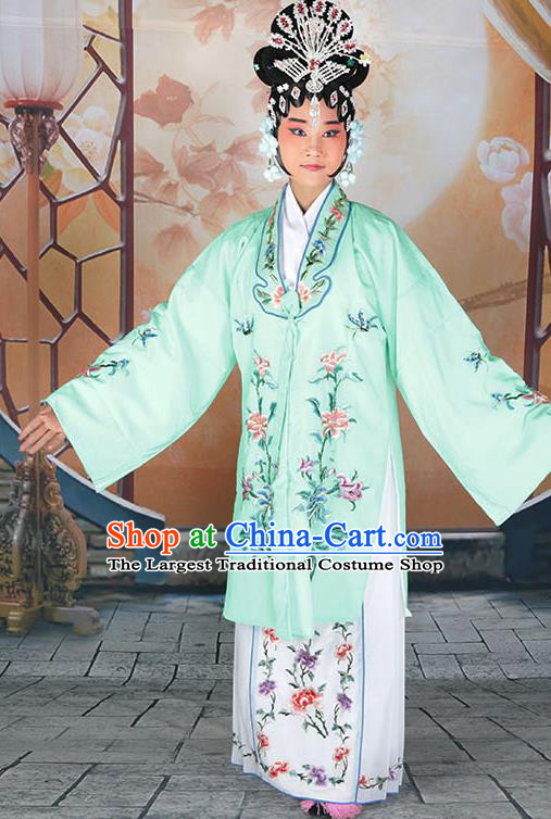 Professional Chinese Beijing Opera Actress Embroidered Peony Light Green Costumes for Adults