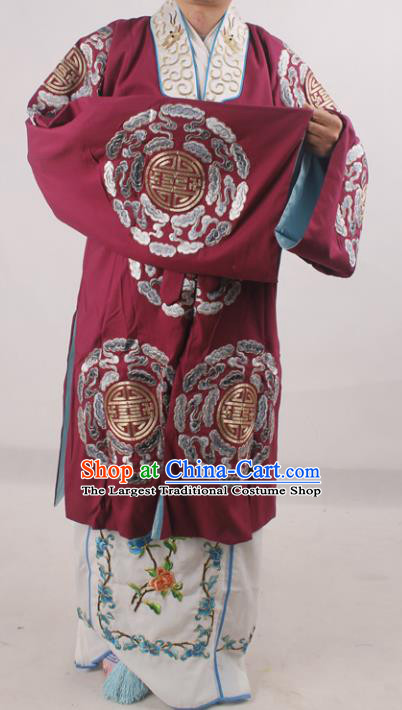 Professional Chinese Beijing Opera Pantaloon Embroidered Costumes for Adults
