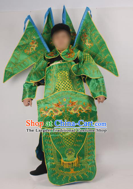 Professional Chinese Peking Opera General Green Embroidered Costume and Props for Adults