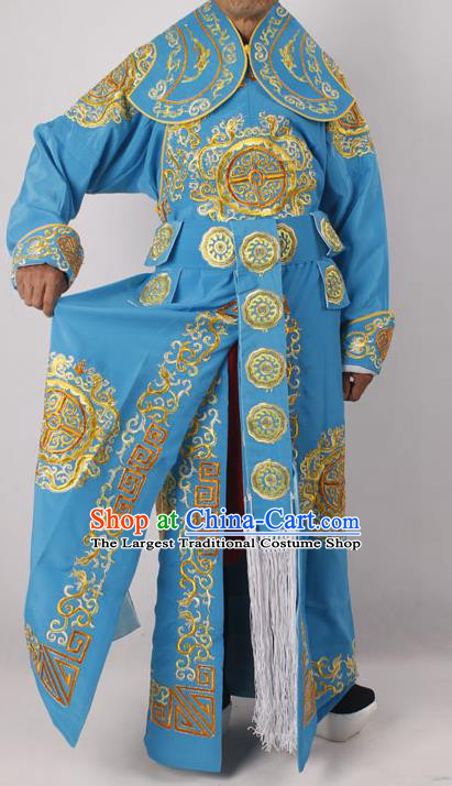 Professional Chinese Peking Opera Takefu Embroidered Blue Costume for Adults