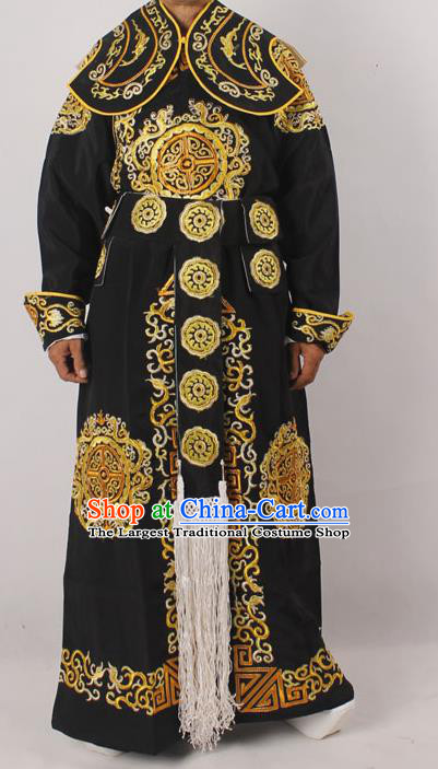 Professional Chinese Peking Opera Takefu Embroidered Black Costume for Adults
