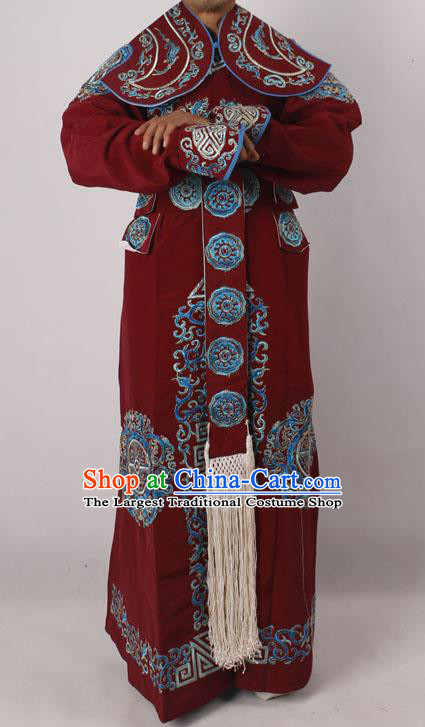 Professional Chinese Peking Opera Takefu Embroidered Amaranth Costume for Adults