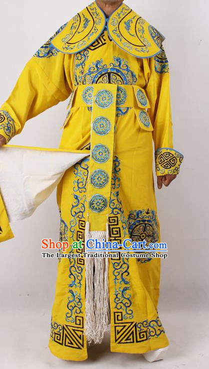 Professional Chinese Peking Opera Takefu Embroidered Yellow Costume for Adults
