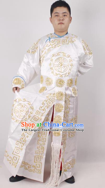 Professional Chinese Peking Opera Takefu White Embroidered Costume for Adults