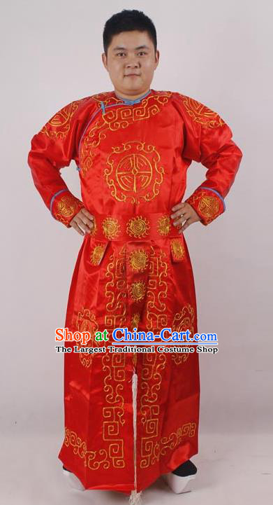 Professional Chinese Peking Opera Takefu Red Embroidered Costume for Adults
