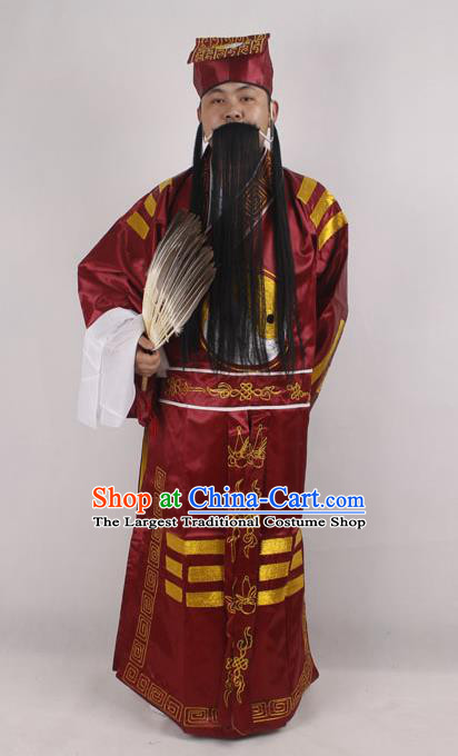 Professional Chinese Peking Opera Strategist Costume Embroidered Purple Robe and Hat for Adults