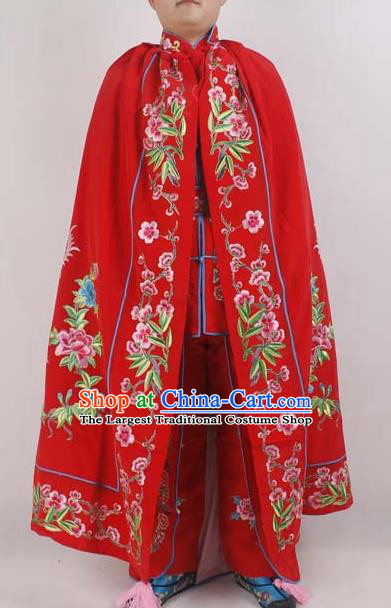 Professional Chinese Peking Opera Imperial Consort Embroidered Phoenix Red Cloak Costumes for Adults