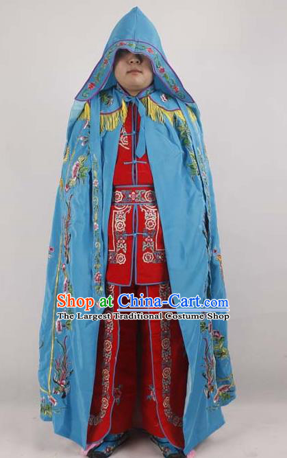 Professional Chinese Peking Opera Imperial Consort Embroidered Phoenix Blue Cloak Costumes for Adults