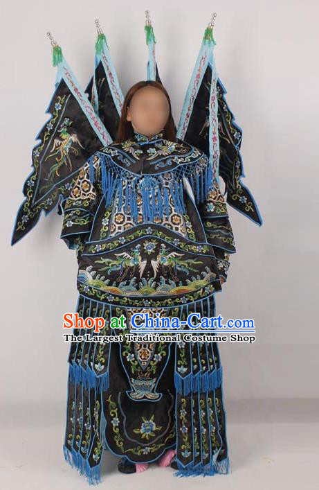 Professional Chinese Peking Opera Female General Mu Guiying Embroidered Black Costumes for Adults