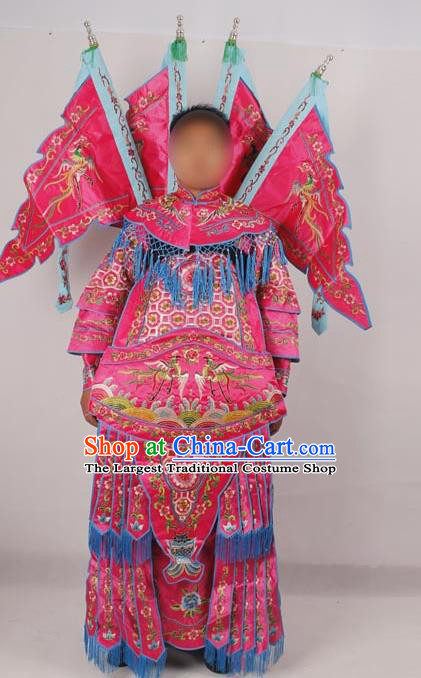 Professional Chinese Peking Opera Female General Mu Guiying Embroidered Rosy Costumes for Adults