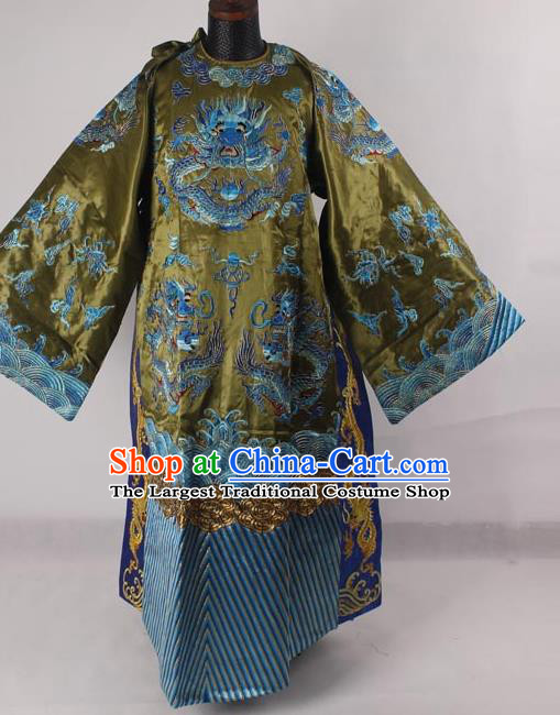 Professional Chinese Peking Opera Old Men Costume Prime Minister Green Embroidered Robe for Adults