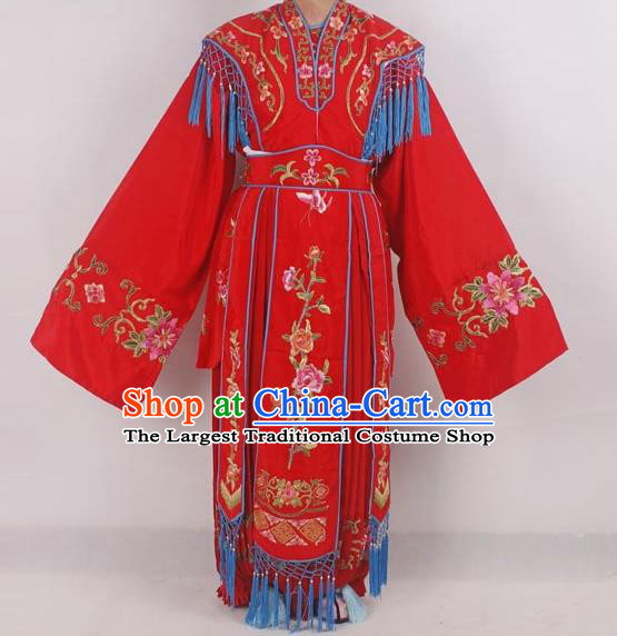 Professional Chinese Peking Opera Diva Costumes Ancient Fairy Embroidered Red Dress for Adults