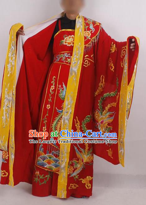 Professional Chinese Peking Opera Costumes Ancient Empress Embroidered Red Clothing for Adults