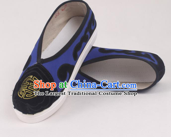 Chinese Traditional Beijing Opera Ministry Councillor Embroidered Shoes Peking Opera Royalblue Shoes for Men