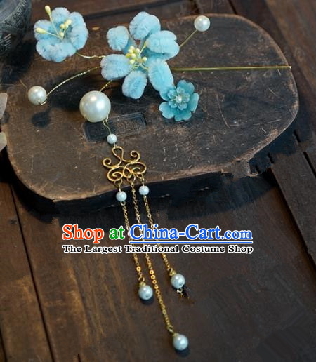 Top Grade Chinese Handmade Hair Accessories Qing Dynasty Blue Velvet Flowers Hairpins for Women