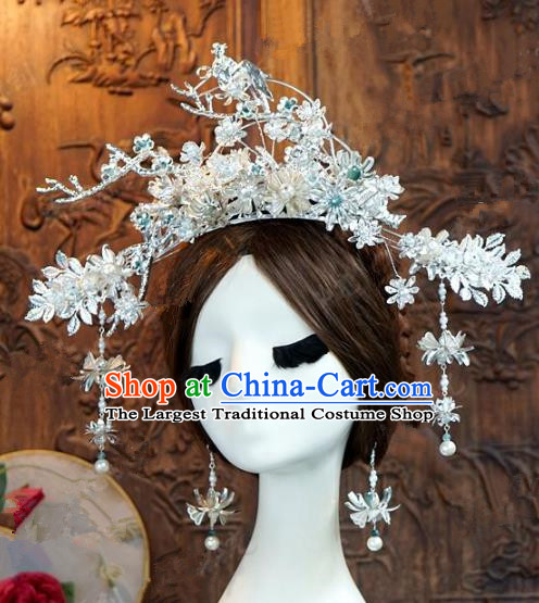 Chinese Handmade Ancient Wedding Hair Accessories Argent Phoenix Coronet Hairpins Complete Set for Women