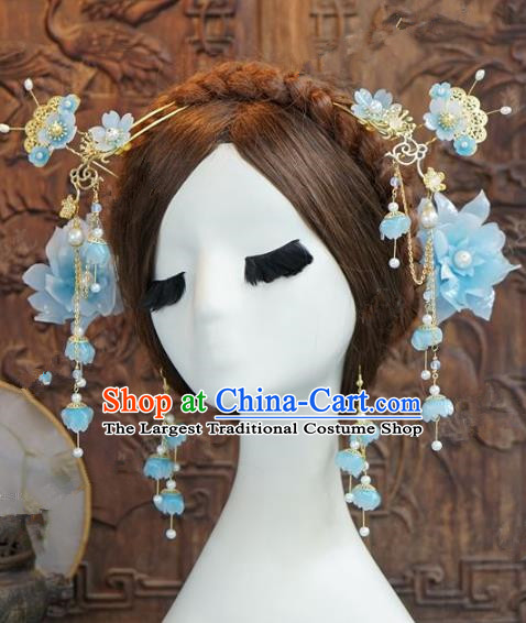 Chinese Handmade Wedding Hair Accessories Ancient Bride Blue Peony Hairpins Complete Set for Women