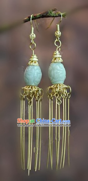 Chinese Handmade Jadeite Earrings Ancient Bride Eardrop Jewelry Accessories for Women