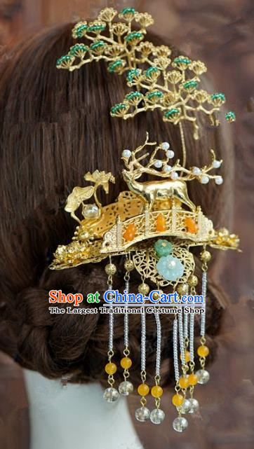 Chinese Handmade Ancient Hair Accessories Ancient Hanfu Pineburst Deer Tassel Hairpins for Women