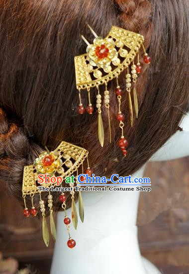 Chinese Handmade Ancient Hair Accessories Ancient Hanfu Tassel Hairpins for Women