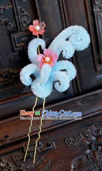 Chinese Handmade Hair Accessories Qing Dynasty Princess Blue Velvet Flowers Hairpins for Women