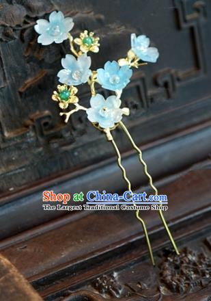 Chinese Handmade Hair Accessories Ancient Princess Blue Plum Blossom Hairpins for Women