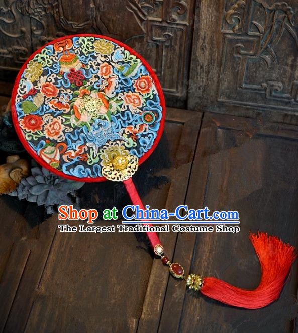 Top Grade Chinese Handmade Palace Fans Ancient Hanfu Wedding Round Fans for Women