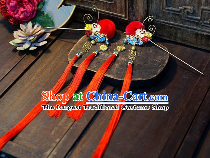 Chinese Handmade Ancient Hair Accessories Princess Red Tassel Hairpins for Women