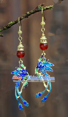 Chinese Handmade Jewelry Accessories Ancient Palace Lady Hanfu Blueing Phoenix Earrings for Women