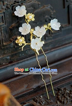 Chinese Handmade Hair Accessories Ancient Princess White Plum Blossom Hairpins for Women
