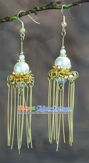 Chinese Handmade Jewelry Accessories Ancient Bride Hanfu Tassel Pearl Earrings for Women