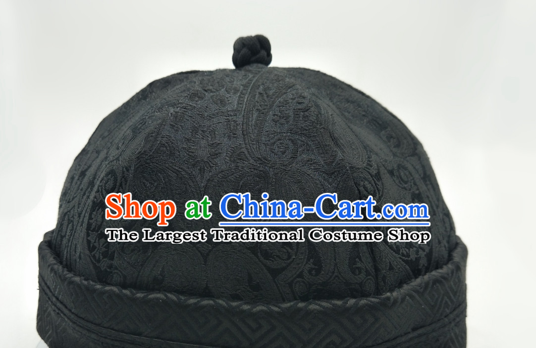 Chinese Traditional Handmade Silk Brocade Landlord Hat for Men