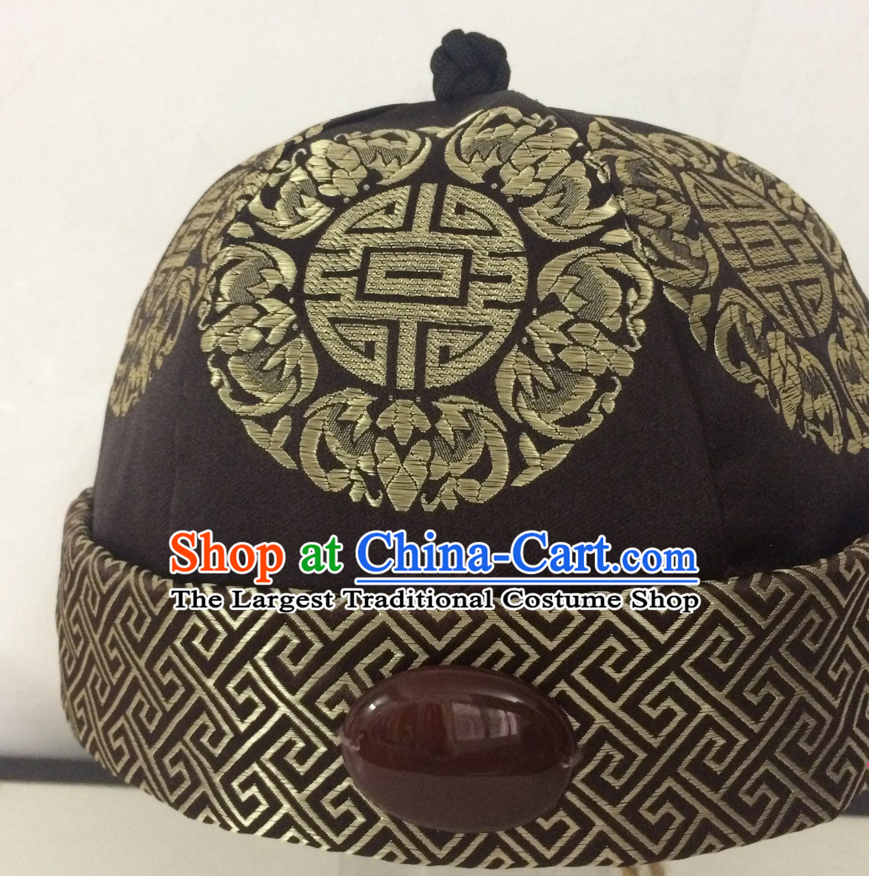 Chinese Traditional Handmade Silk Brocade Qing Dynasty Princess Jade Hat for Men