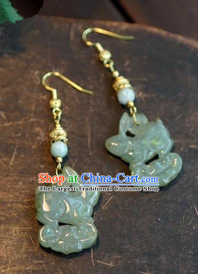 Chinese Handmade Jewelry Accessories Ancient Bride Hanfu Jade Rabbit Earrings for Women