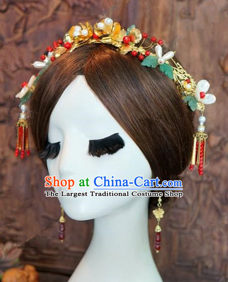 Chinese Traditional Ancient Bride Headdress Wedding Phoenix Coronet Hairpins Complete Set for Women